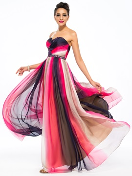Contrast Color A-Line Sweetheart Beading Floor-Length Prom Dress