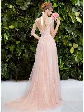 Wonderful Scoop Neckline Pearls Bowknot A-Line Sweep Train Prom Dress