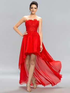 Fine Strapless Lace High Low A-Line Prom Dress Designed