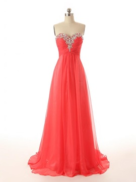 A-Line Sweetheart Crystal Beading Sequins Sweep Train Long Prom Dress