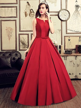 Casual V-Neck Straps Bowknot Lace-Up Long Prom Dress