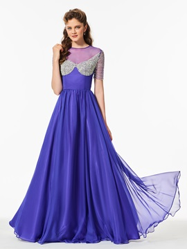 Attractive Short Sleeves Scoop A-Line Beaded Floor-Length Prom Dress