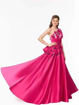 Charming One-Shoulder A-Line Short Sleeves Beading Bowknot Court Train Prom Dress
