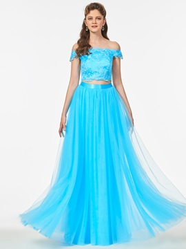 A-Line Lace Off-the-Shoulder Sashes Prom Dress