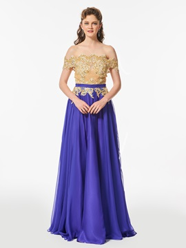 Off-the-Shoulder Appliques A-Line Beaded Sashes Prom Dress