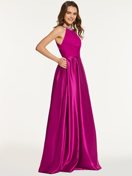 Beading A-Line Scoop Empire Long Prom Dress