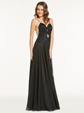 Beading Lace A-Line Floor-Length Backless Prom Dress