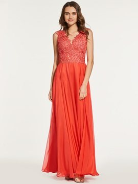 Empire A-Line V-Neck Lace Prom Dress