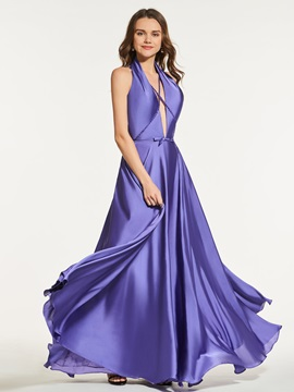 Sashes A-Line Empire Bowknot Lace Split-Front Prom Dress