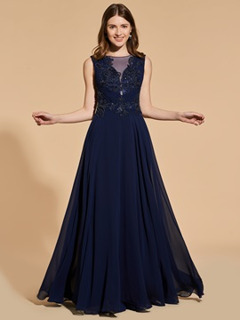 A-Line Appliques Beading Button Scoop Prom Dress