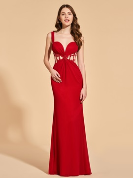 Sheath Lace Empire Straps Prom Dress