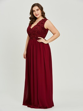 V Neck Plus Size Lace  Prom Dress