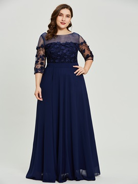 Scoop Neck Half Sleeves A Line Plus Size Prom Dress