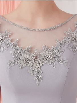 A-Line Appliques Pearls Sashes Tea-Length Prom Dress