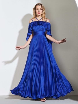 A-Line Halter Pleats Empire Prom Dress