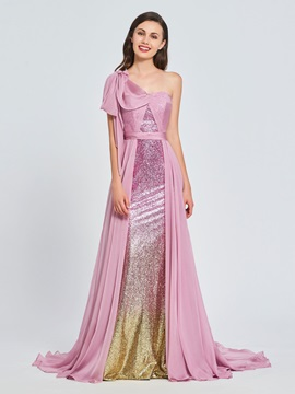 A-Line One-Shoulder Cascading Ruffles Sequins Prom Dress