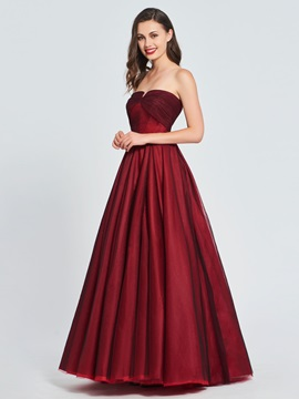 A-Line Ruched Strapless Prom Dress