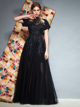 A-Line Appliques Floor-Length High Neck Sashes Prom Dress