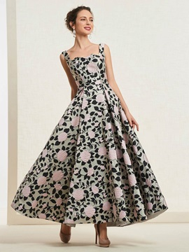 Print A-Line Floor-Length Spaghetti Straps Prom Dress