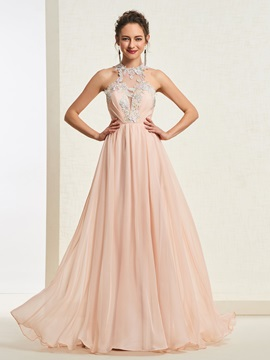 A-Line Tiered Floor-Length Scoop Prom Dress
