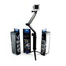 Trifold Adjustable Arm Stand with Monopod Tripod Holder for GoPro SJCAM SOOCOO