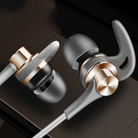 New J02 Horn Headphone Shark Fin Metal In-ear Mobile Phone Headphone Sport Bass Headphone