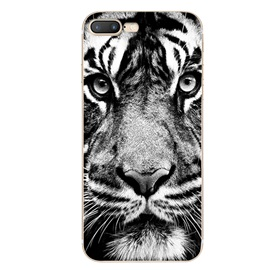 Silicone abstract tiger head phone case for iPhone 7 /7Plus
