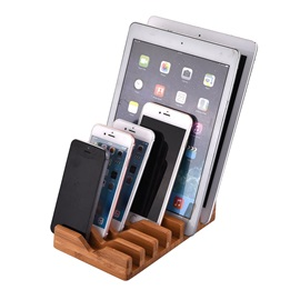 Natural Bamboo Charging Dock Cradle Stand Detachable Multifunction Phone Holder