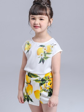 Stylish Flower Printing Girl's 2-Piece Outfit