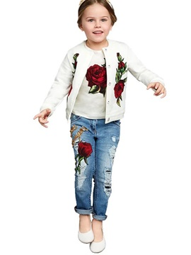 Chic Jacquard Tee Snaps Frayed Destroy 3-Pcs Girls' Outfit
