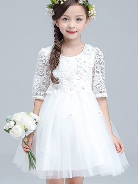 Stylish Lace Layered Girl's Dress