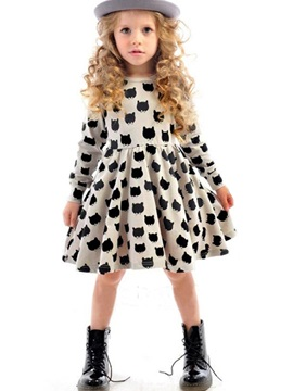 Cute Animal Printed Girl's Long Sleeve Dress