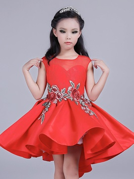 Embroidery High-Low Girl's Dress