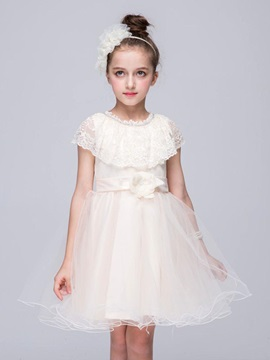 Elegant Lace Crocheting Belted Girl's Dress