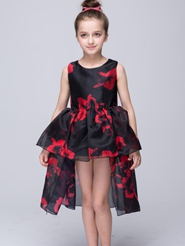 Glamour Flower High-Low Girl's Dress