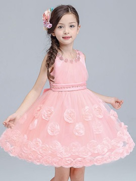 Candy Color Flower Beaded Girl's Dress
