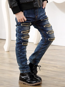 Simple Thickening Frayed Boy's Jean