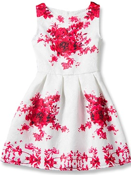Floral Printing Pleated Girl's Dress
