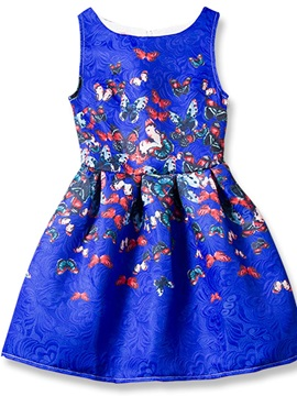 Delicate Printing Sleeveless Girl's Dress