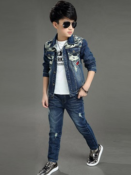 Camo-Print Chest Pockets Boy's 2-Piece Outfit
