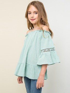 Loose-Fit Off-Shoulder Big Girl's Blouse