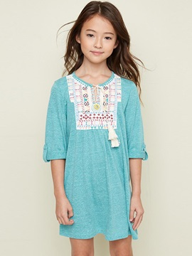 Simple Printing Tie-Neck Girl's Dress