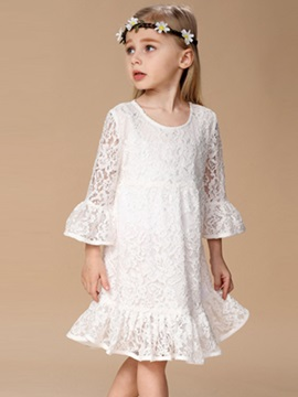 Lace Ruffle Trim Girl's White Dress