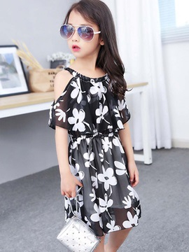 Stylish Floral Cold-Shoulder Girl's Dress