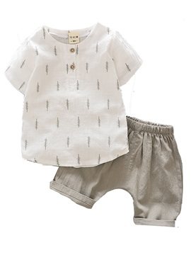 Simple Cotton Blends Boys 2-Pcs Shorts Outfit