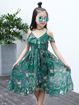 Chiffon Asymmetric Floral Beach Girls Dress