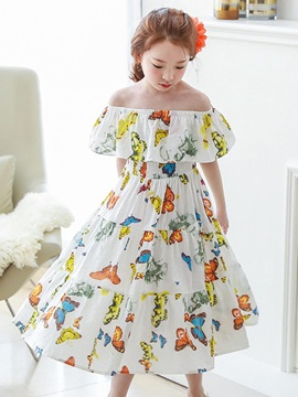 Delicate Buttflies Printing Off-The-Shoulder Girls Dress