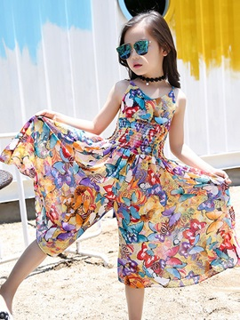 Vogue Chiffon Nipped Waist Wide Legs Girls Jumpsuit