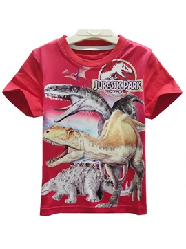 Red Dinosaur Printing Short Sleeve Round Neck Boy's T-Shirt