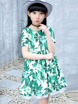 Refreshing Leaves Floral Print Summer Girls Dress
